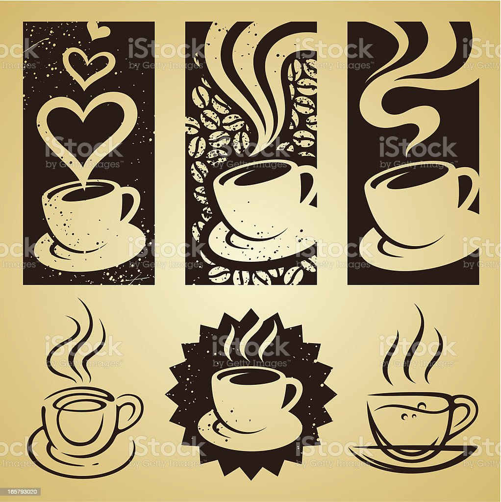 cup of coffee set vector art illustration