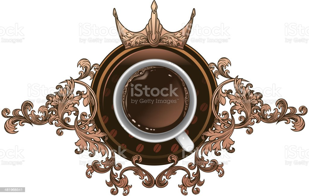 cup of coffee shield vector art illustration