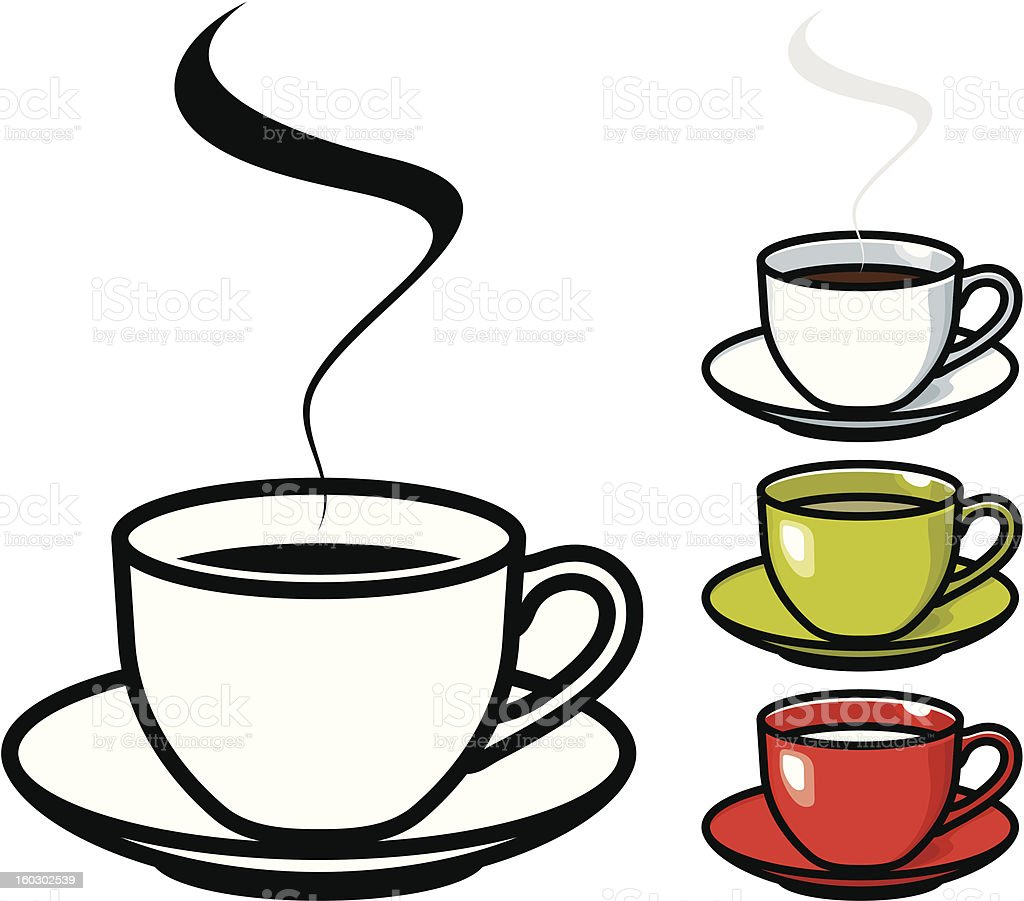 Cup of coffee, tea & milk vector art illustration