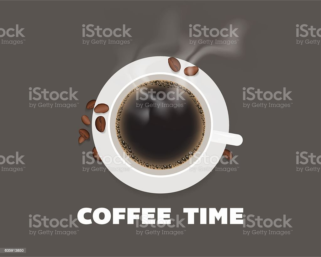Cup of coffee with beans top view illustration. vector art illustration