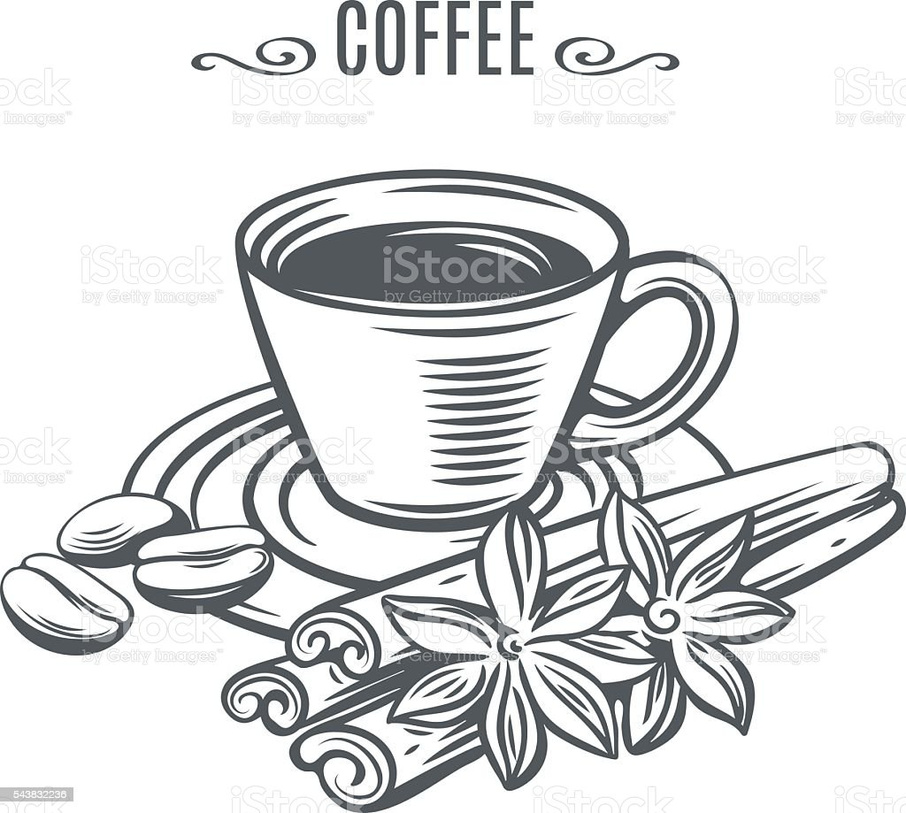 cup of coffee with cinnamon vector art illustration