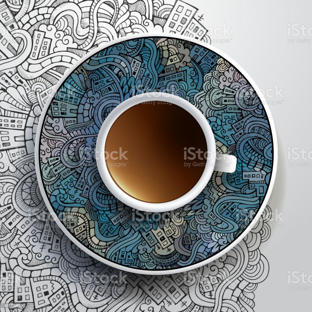Cup of coffee with city doodles ornament vector art illustration