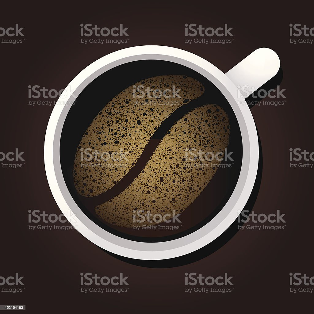 Cup of coffee with foam shape vector art illustration