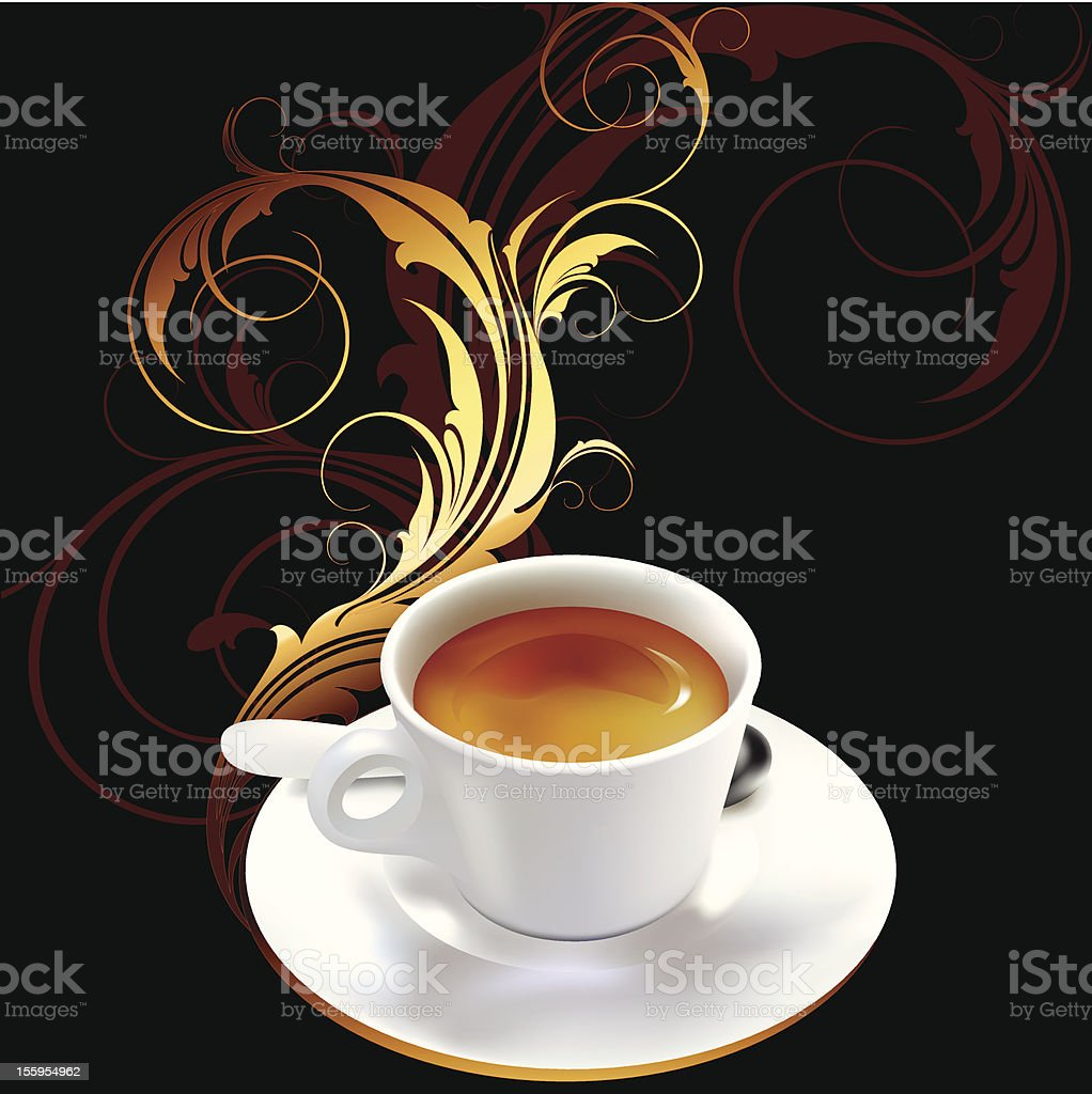 cup of coffee with ornamental elements royalty-free stock vector art