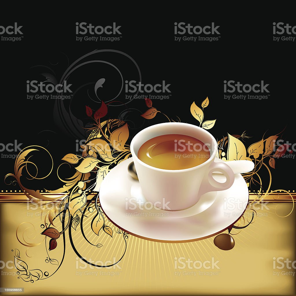 cup of coffee with ornate elements royalty-free stock vector art