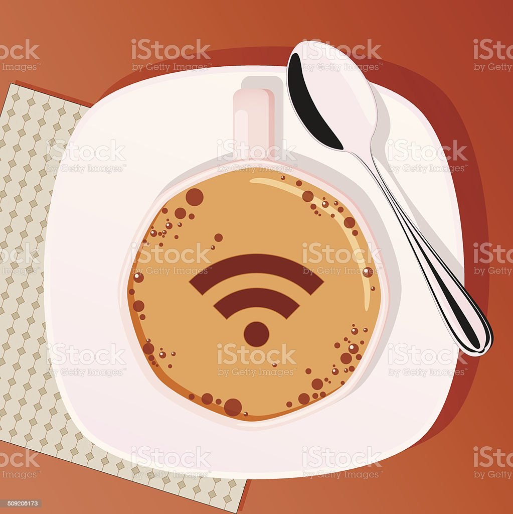 Cup of coffee with spoon vector art illustration