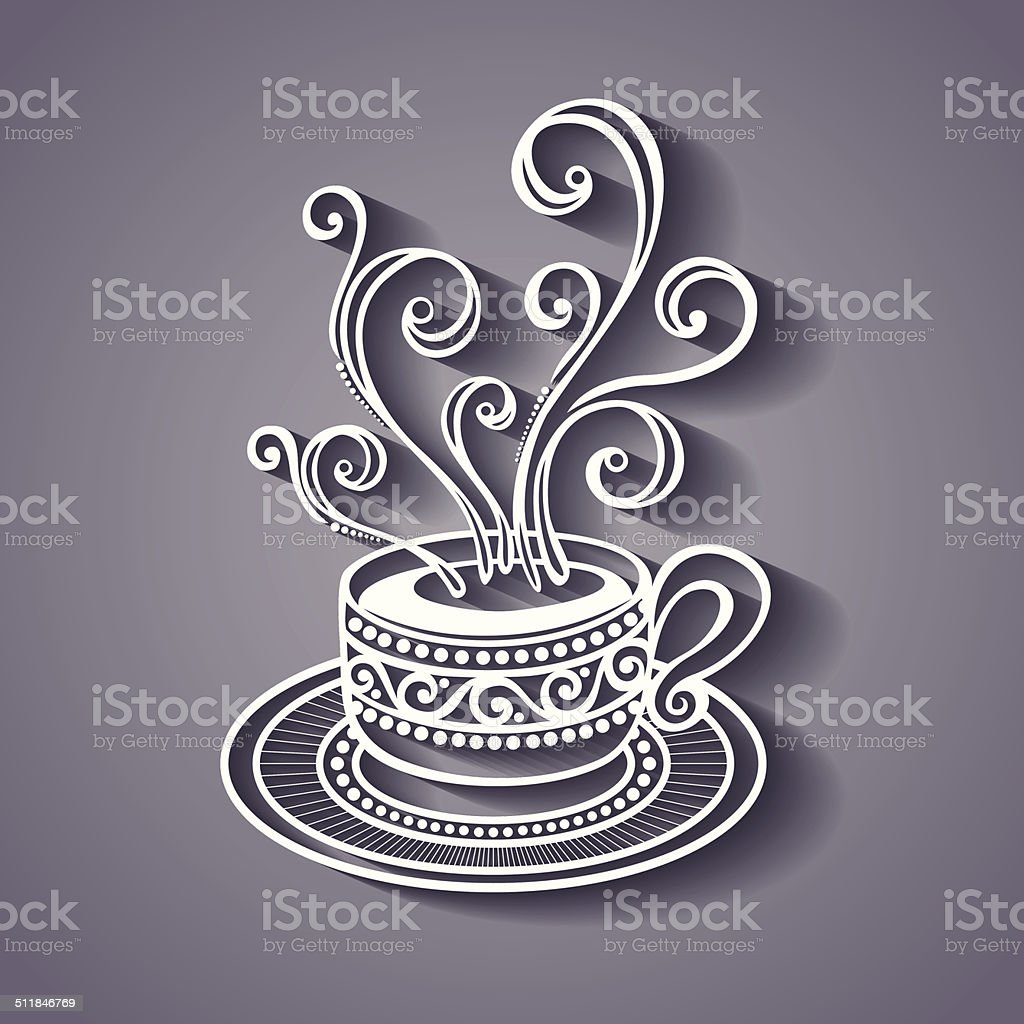 Cup of Coffee with Steam vector art illustration