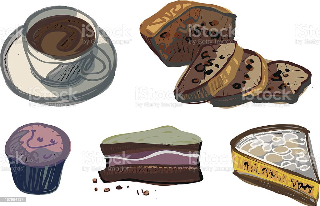 Cup of Coffee with Various Cakes royalty-free stock vector art