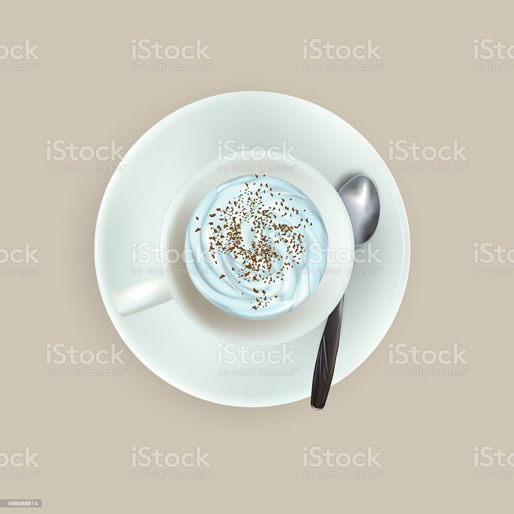 cup of espresso coffee, top view, saucer, spoon vector art illustration