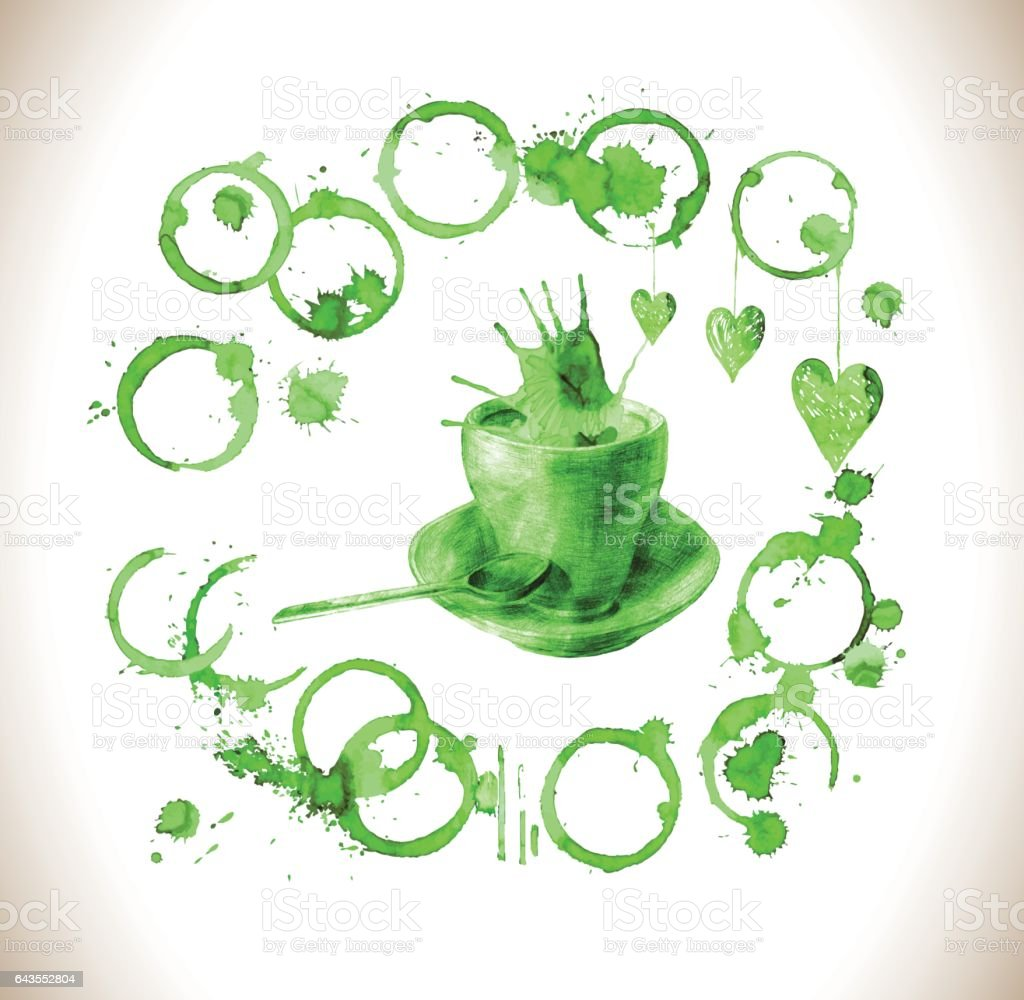 Cup of fresh green tea with  tea stain vector art illustration