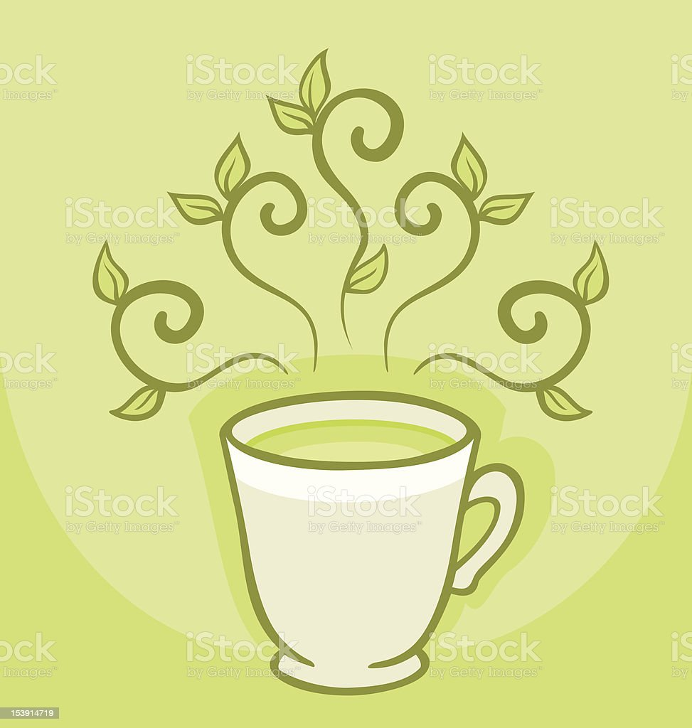 Cup of green tea royalty-free stock vector art