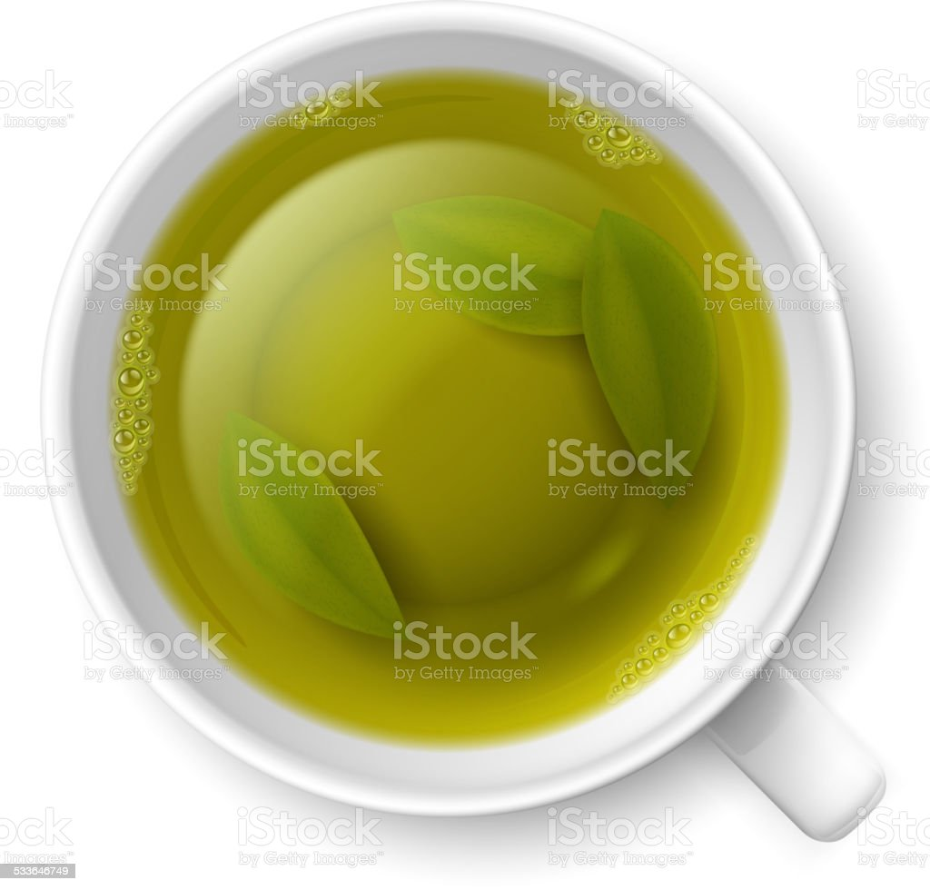 Cup of green tea vector art illustration