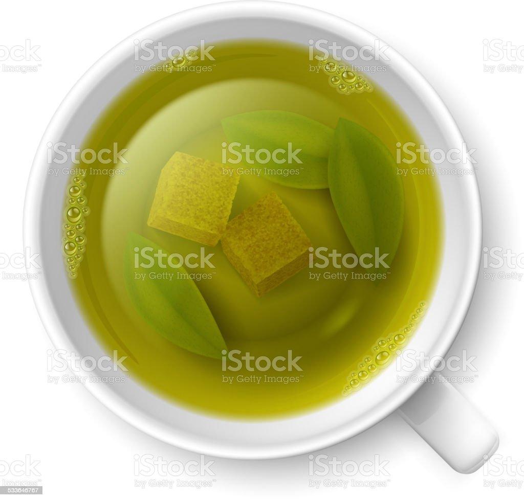 Cup of green tea vector art illustration