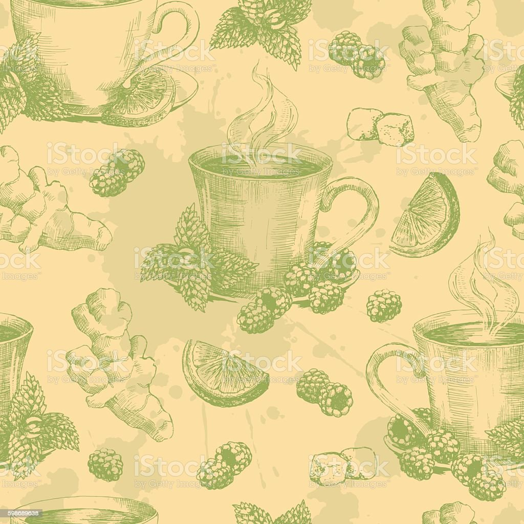 Cup of green tea with ginger mint and lemon seamless vector art illustration