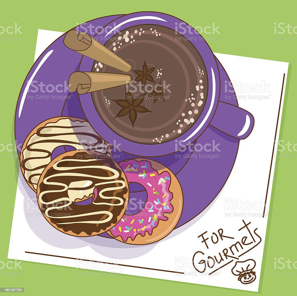 Cup of hot chocolate and donuts royalty-free stock vector art
