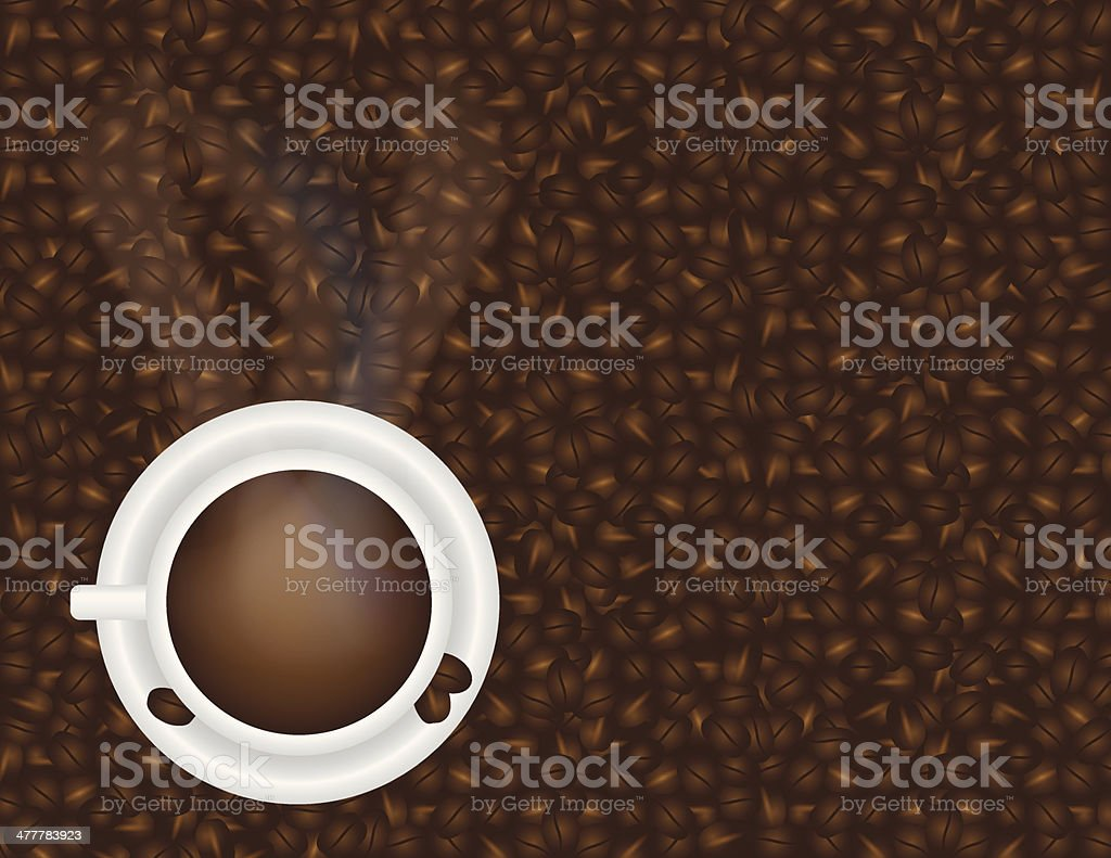 Cup of Hot Coffee and Beans Background Vector Illustration vector art illustration
