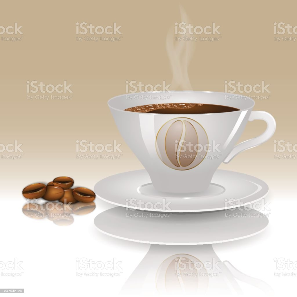 A cup of hot coffee on a beige background with realistic coffee beans. vector art illustration