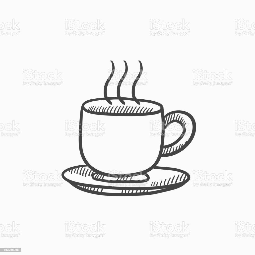 Cup of hot drink sketch icon vector art illustration