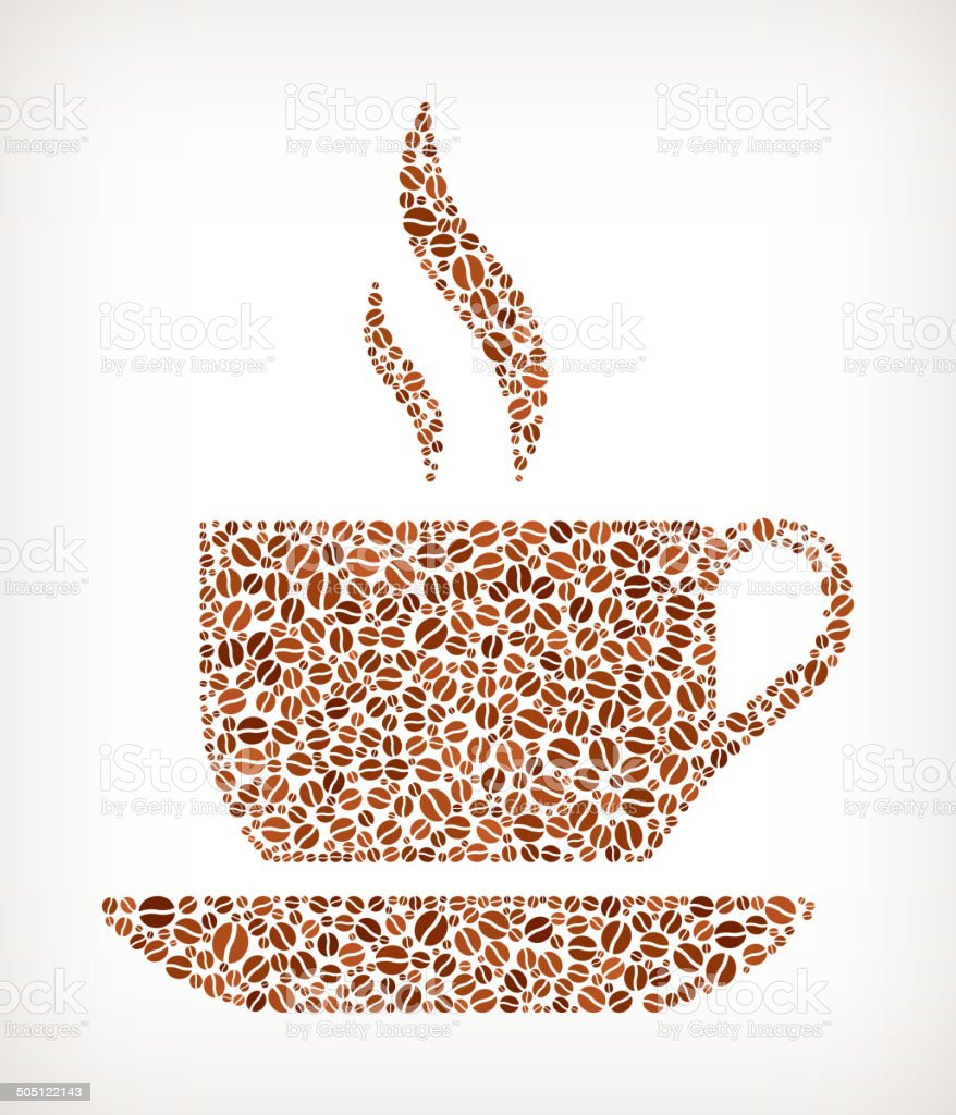Cup of Hot royalty free Coffee Bean Pattern royalty-free stock vector art