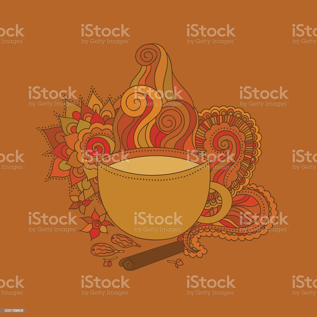 Cup of masala tea and flavoring, ethnic pattern vector art illustration