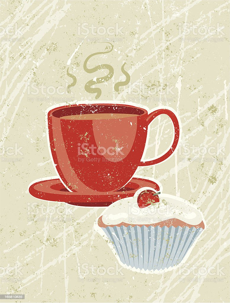 Cup of Tea and Cake royalty-free stock vector art