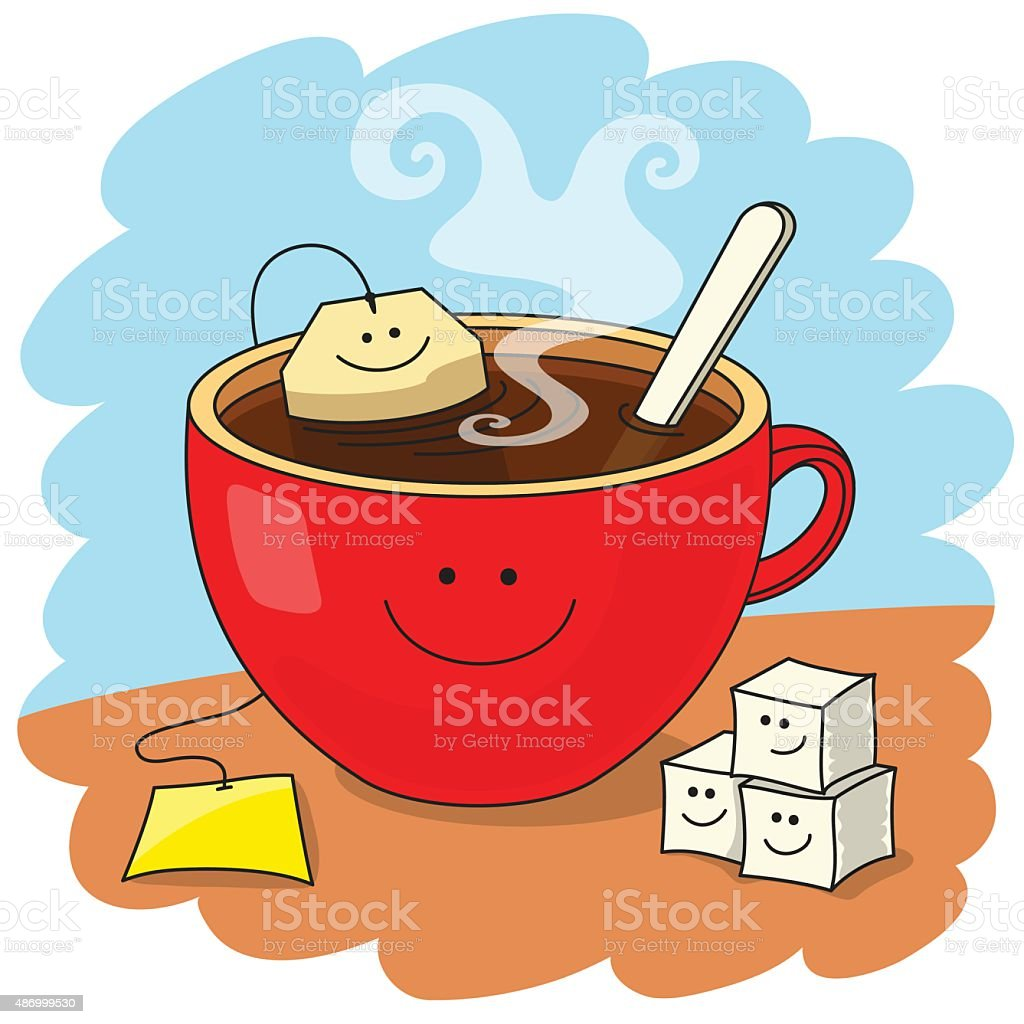 Cup of tea and good mood vector art illustration