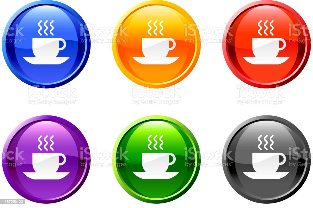 cup of tea coffee button royalty free vector art royalty-free stock vector art