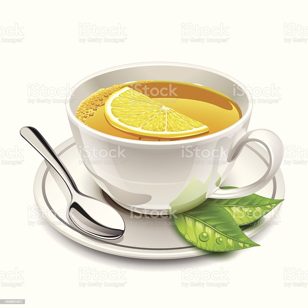 cup of tea with lemon royalty-free stock vector art