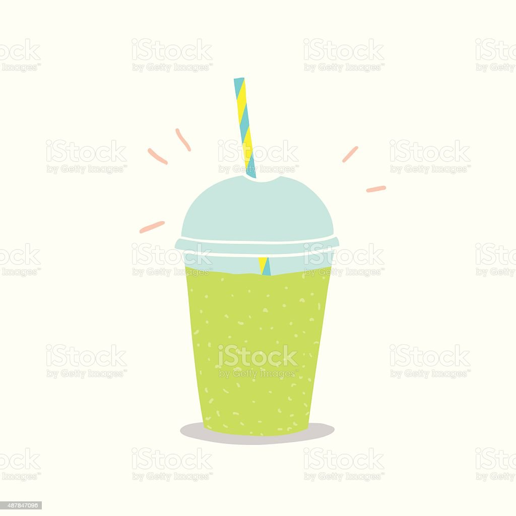 Cup to go with green smoothie vector art illustration