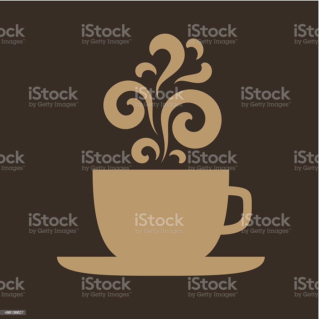 Cup with floral vintage design elements vector art illustration