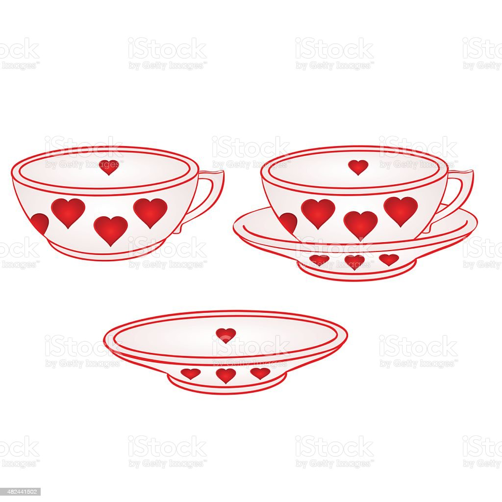 Cup with saucer with red hearts vector vector art illustration