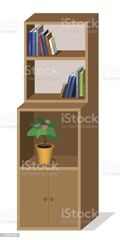 Cupboard with bookshelves royalty-free stock vector art