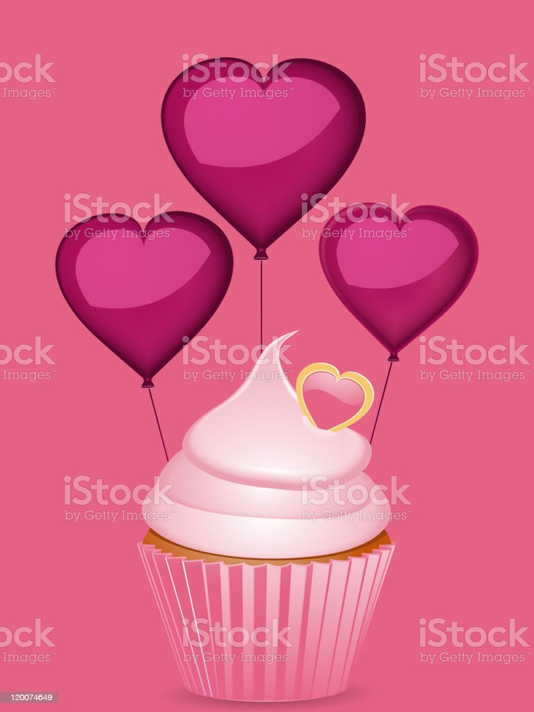 cupcake and heart shaped balloons royalty-free stock vector art