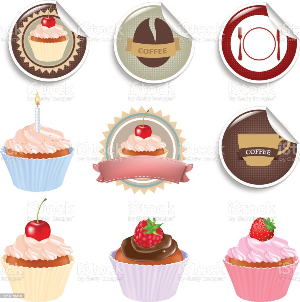 Cupcake And Labels Set vector art illustration