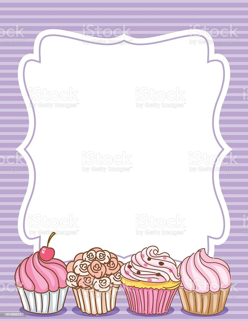 Cupcake Border Invitation Background Purple Stock Vector