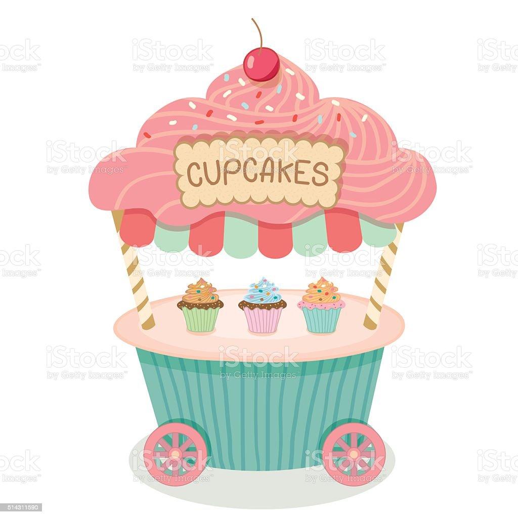 cupcake cart isolated vector art illustration