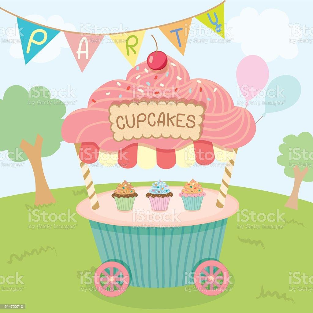 cupcake cart park party vector art illustration