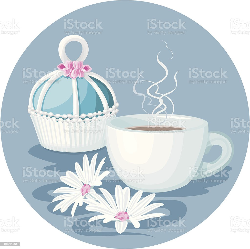Cupcake, cup of coffee and flowers composition royalty-free stock vector art
