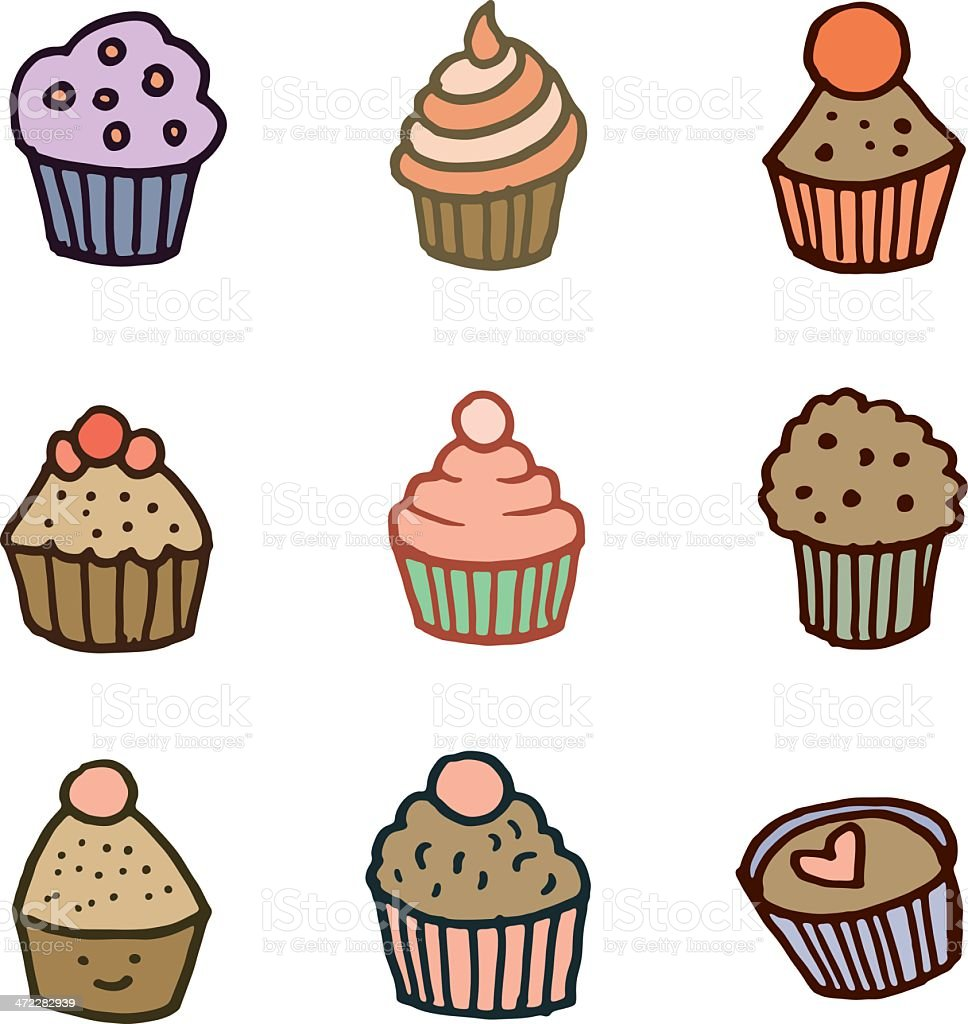 Cupcake doodle icon set royalty-free stock vector art