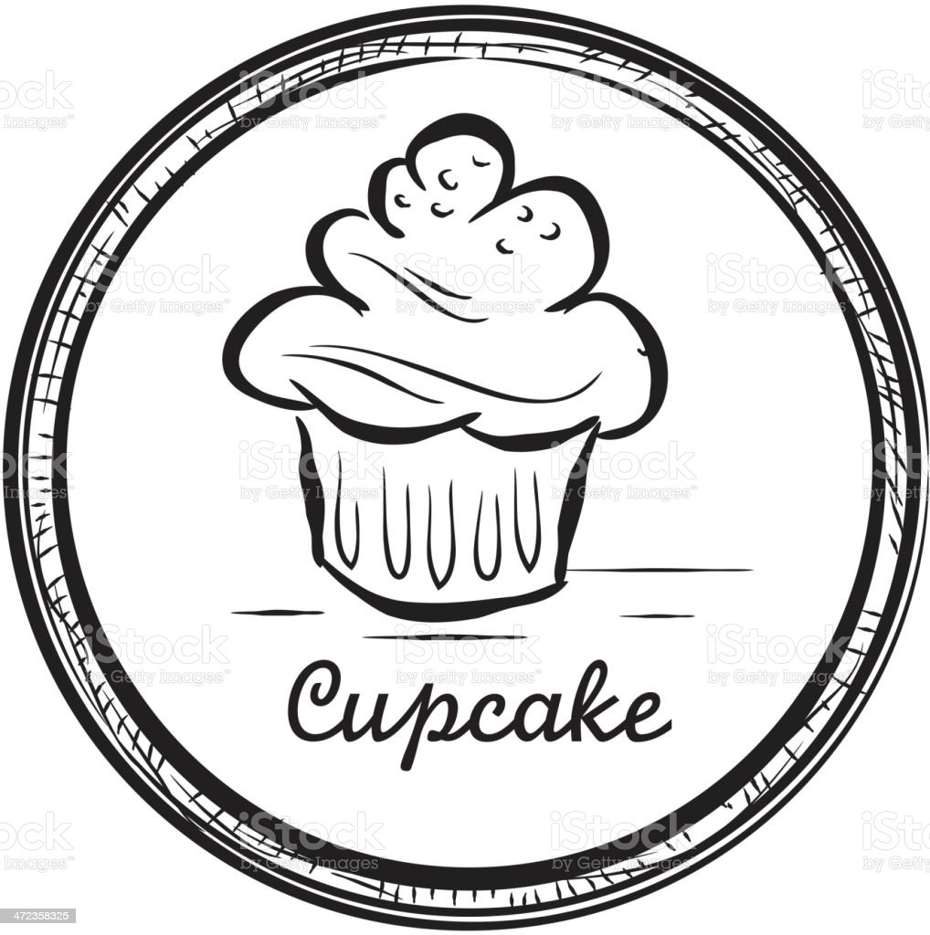 Cupcake drawing with circular frame royalty-free stock vector art