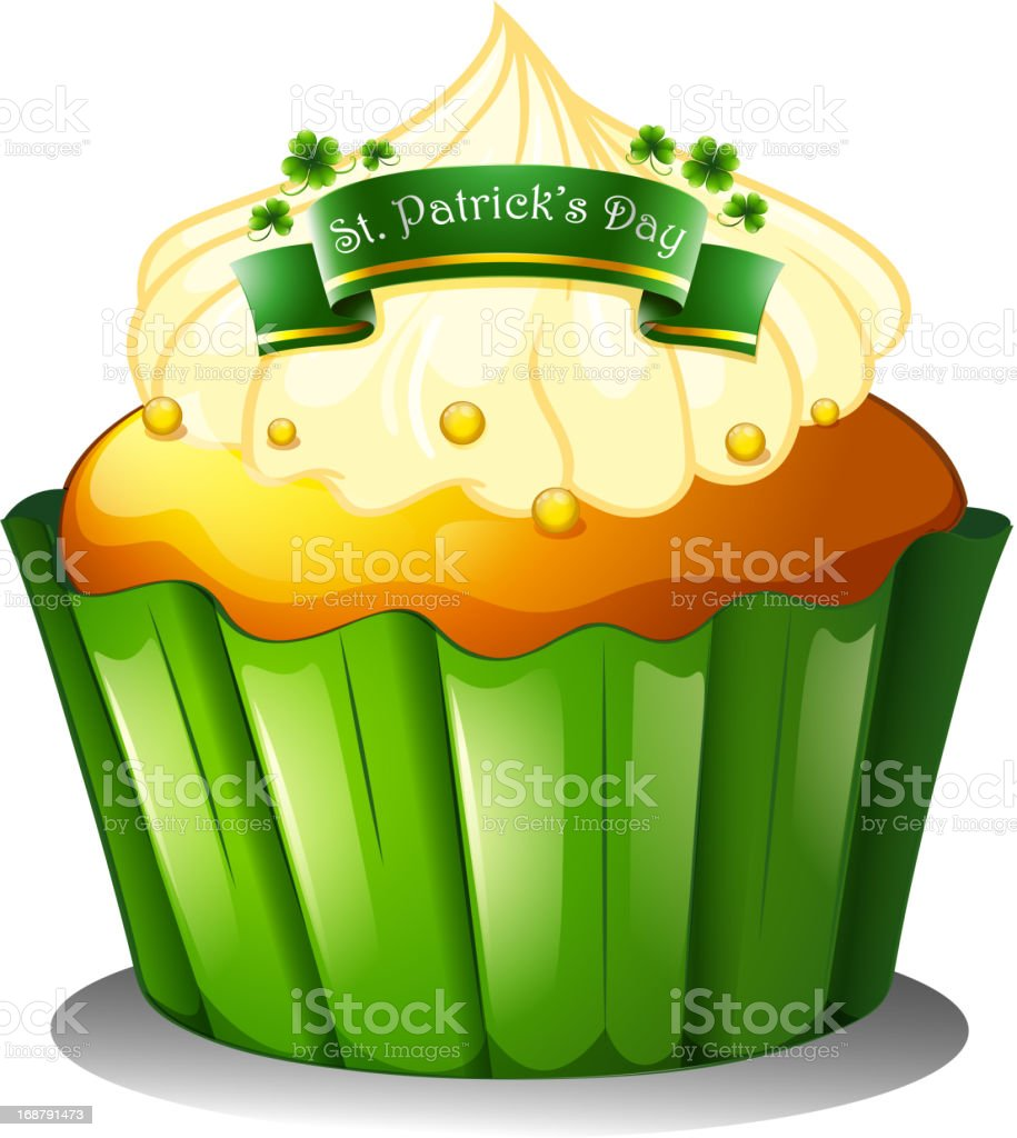 cupcake for the celebration of St. Patrick's day royalty-free stock vector art