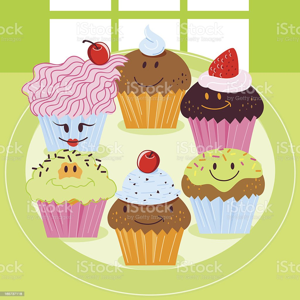 Cupcake friends royalty-free stock vector art