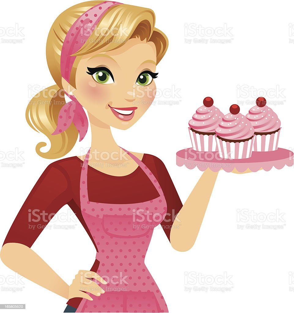 Cupcake Girl vector art illustration