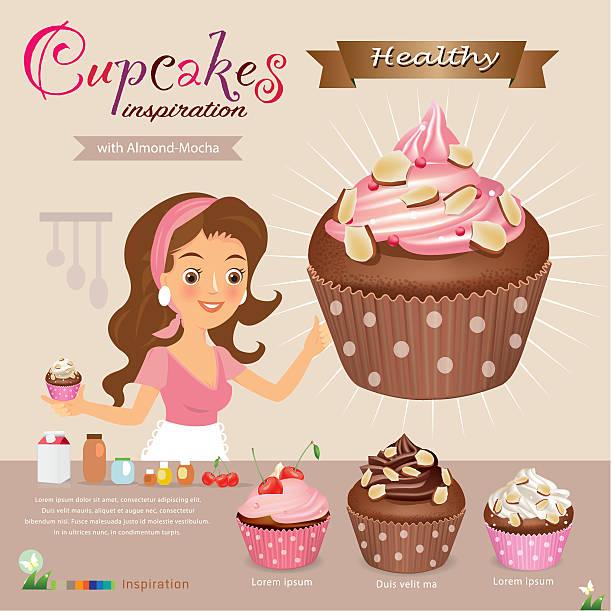cupcake girlvector vector art illustration