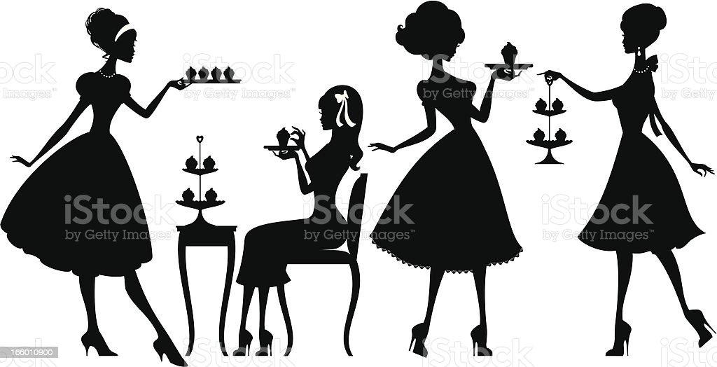 Cupcake Ladies vector art illustration