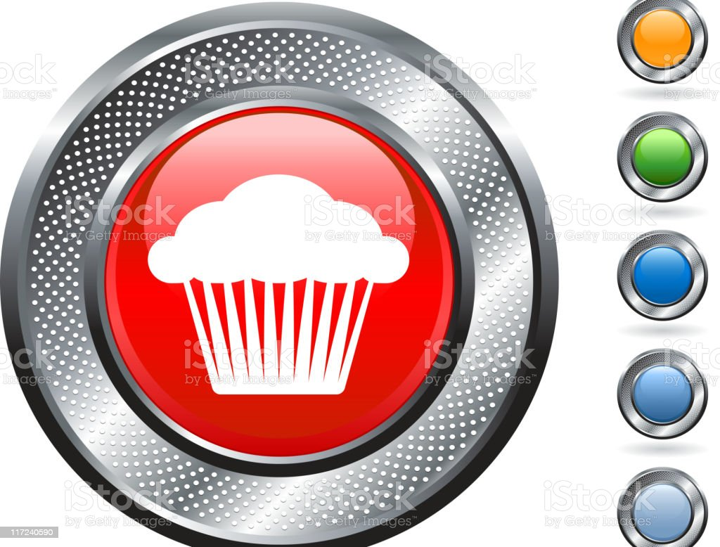 cupcake muffin royalty free vector art on metallic button royalty-free stock vector art