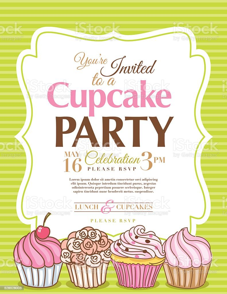 cupcake party invitation template in green vertical stock vector cupcake party invitation template in green vertical royalty stock vector art