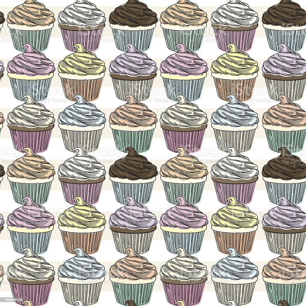Cupcake Pattern royalty-free stock vector art