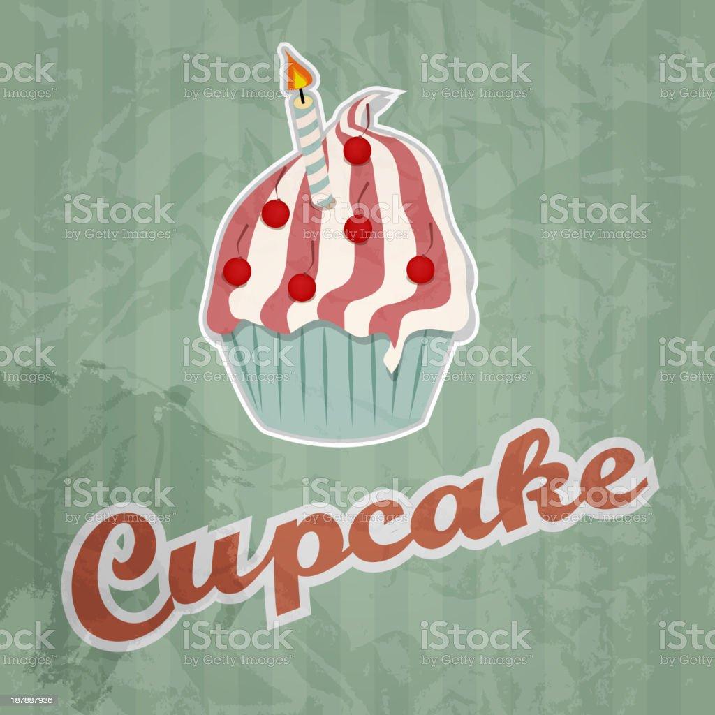 cupcake retro background. Vector illustration royalty-free stock vector art