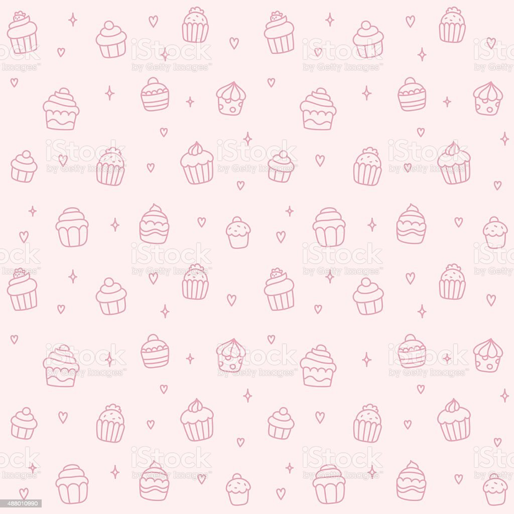 Cupcake seamless pattern vector art illustration